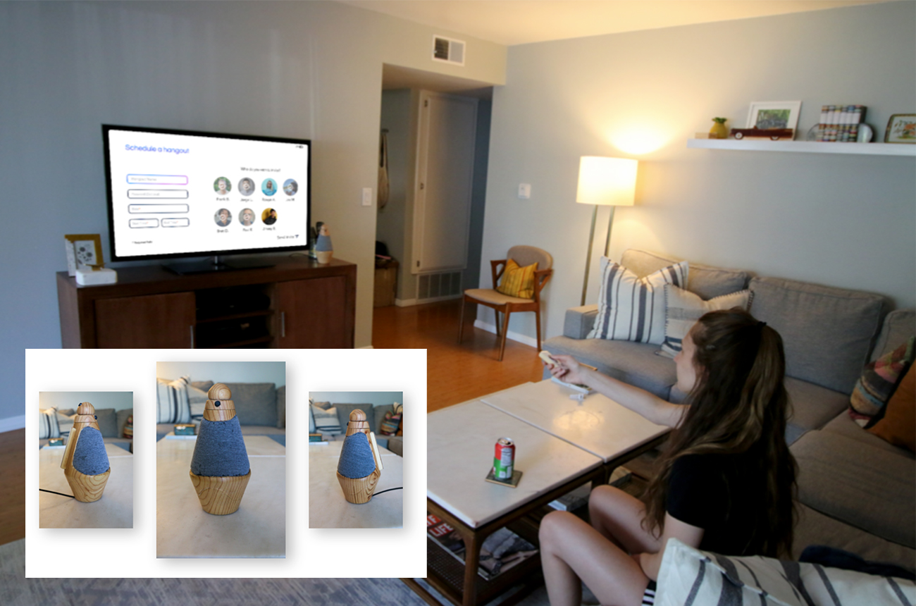 Social Pandemic Hub product use image. The hub is plugged into the TV and a user is accessing the interface using the provided controller.
