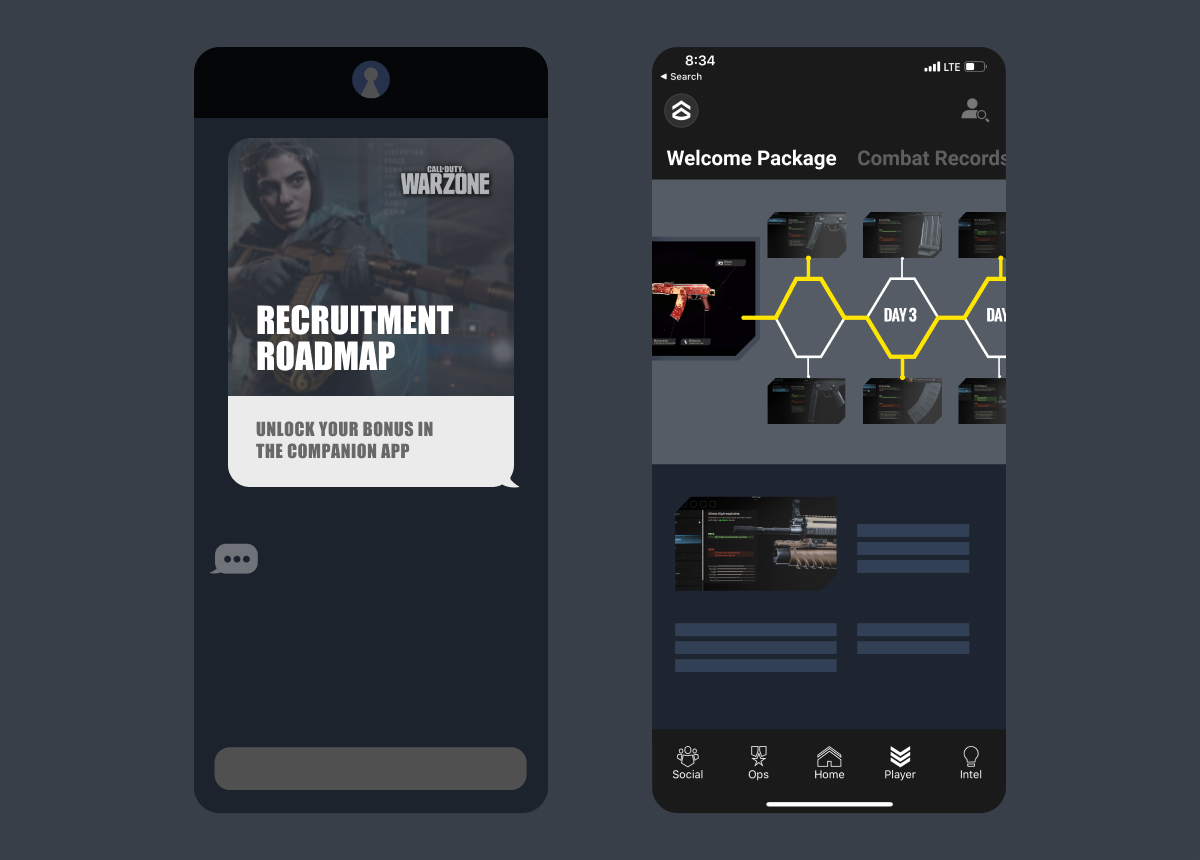 An active player sends a friend an invitation to download the Call of Duty companion app. The friend is greeted by the Recruitment Roadmap which contains a series of challenges to help train the new recruit.
