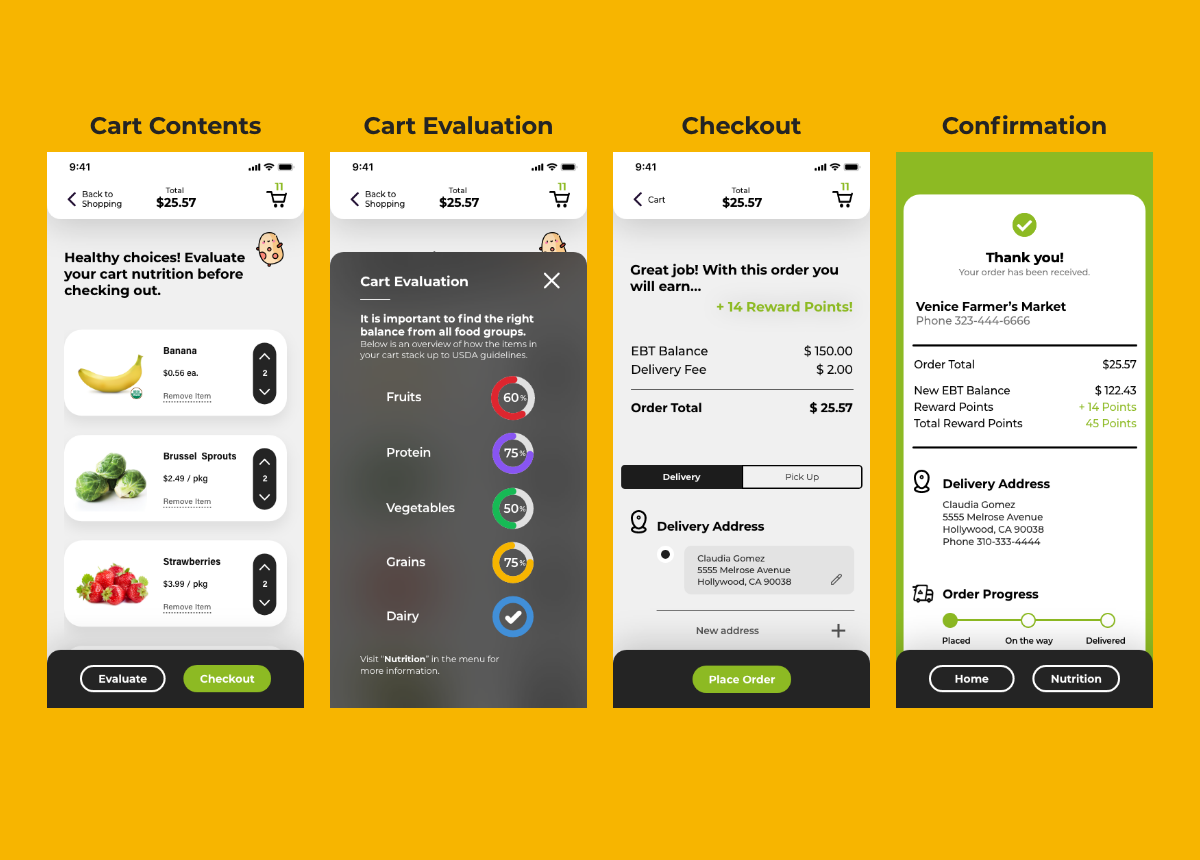 High fidelity prototype screens showing the checkout experience.