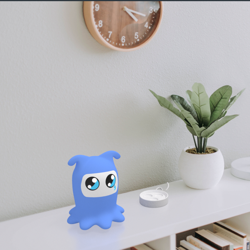 The ritual companion bot charges at bedside. The bot appears sad, but an interaction from the owner will cause the bot to respond with an improved mood state. The charging station and contextual mockup was created by one of my teammates, Aaron Guhin.