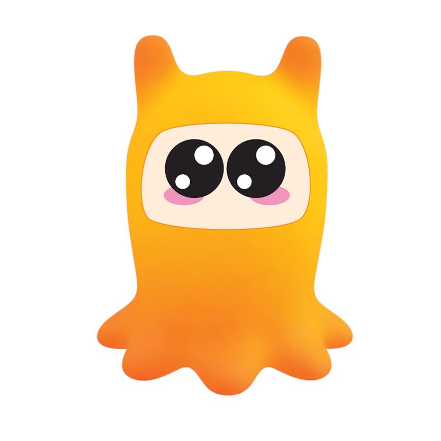 Small orange robot octopus with large eyes.