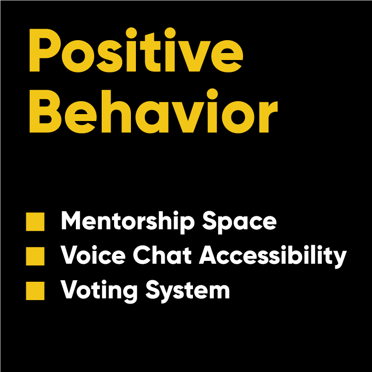 Some features that were considered as how to approach positive behavior in the game.