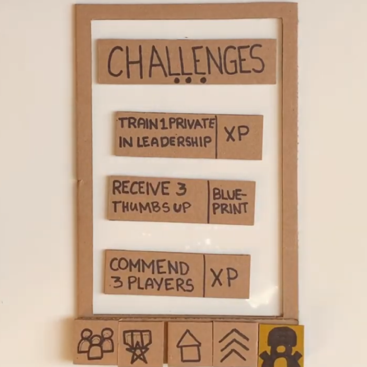 Sample DIY UI for the positive challenges within the game and how they might look like.