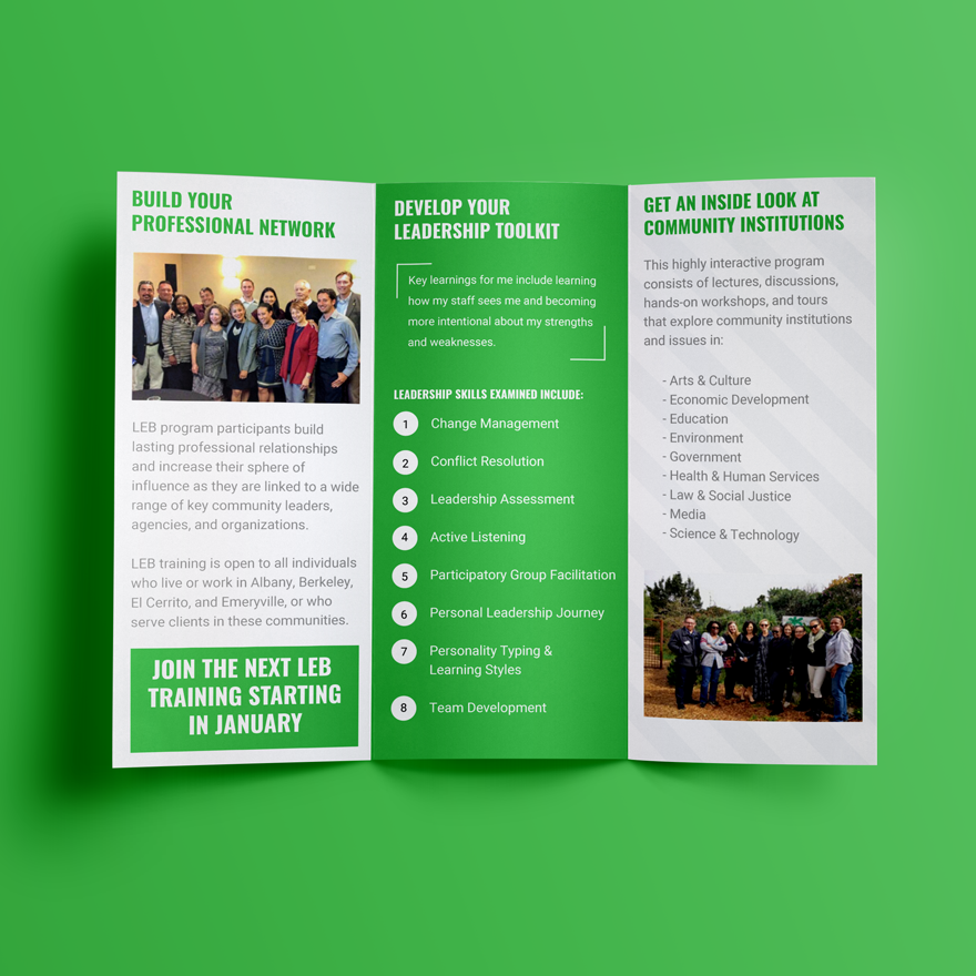 The final brochure design that will be used to advertise their program and services.