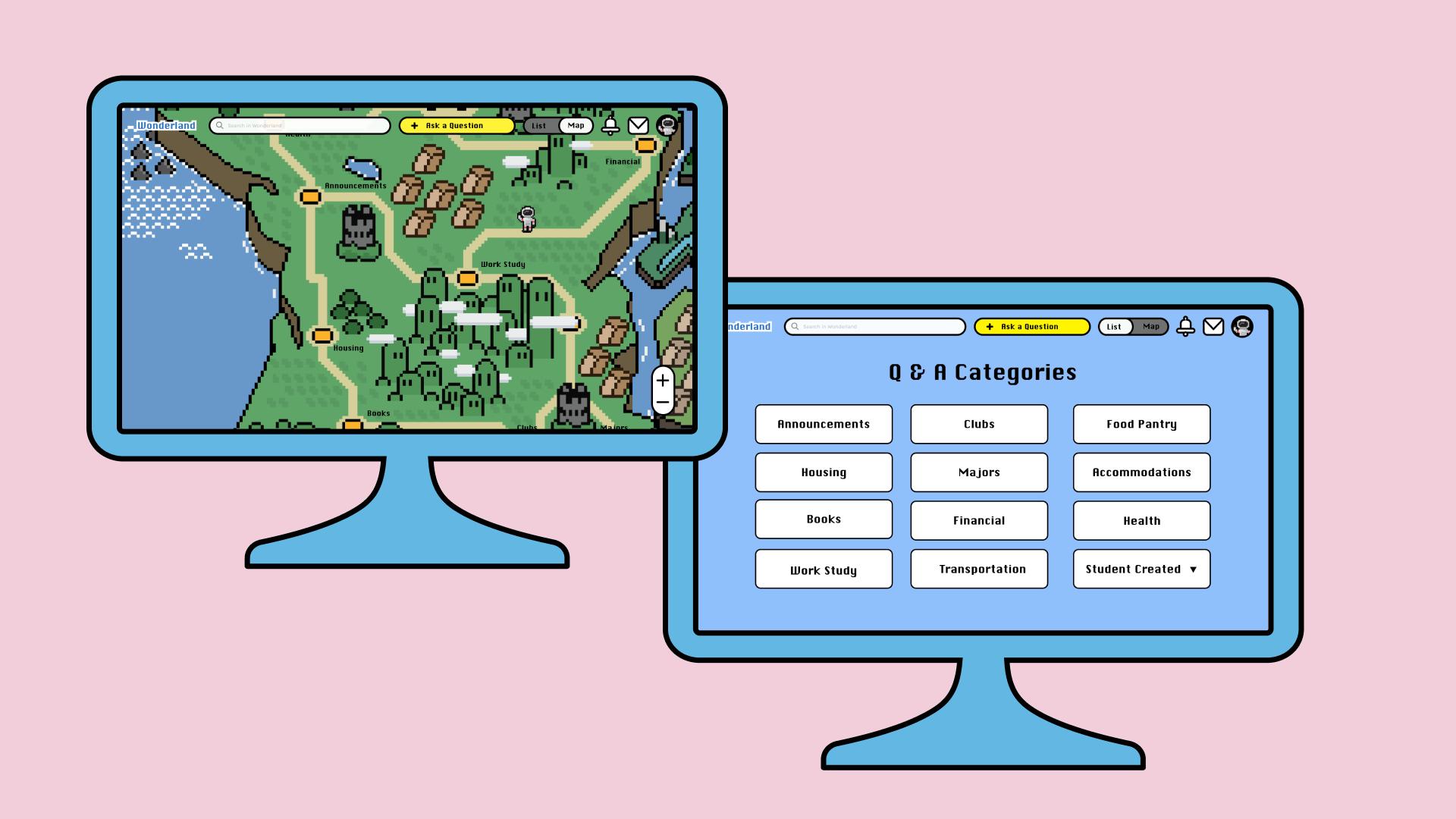 Wonderland homepage Map view vs List view