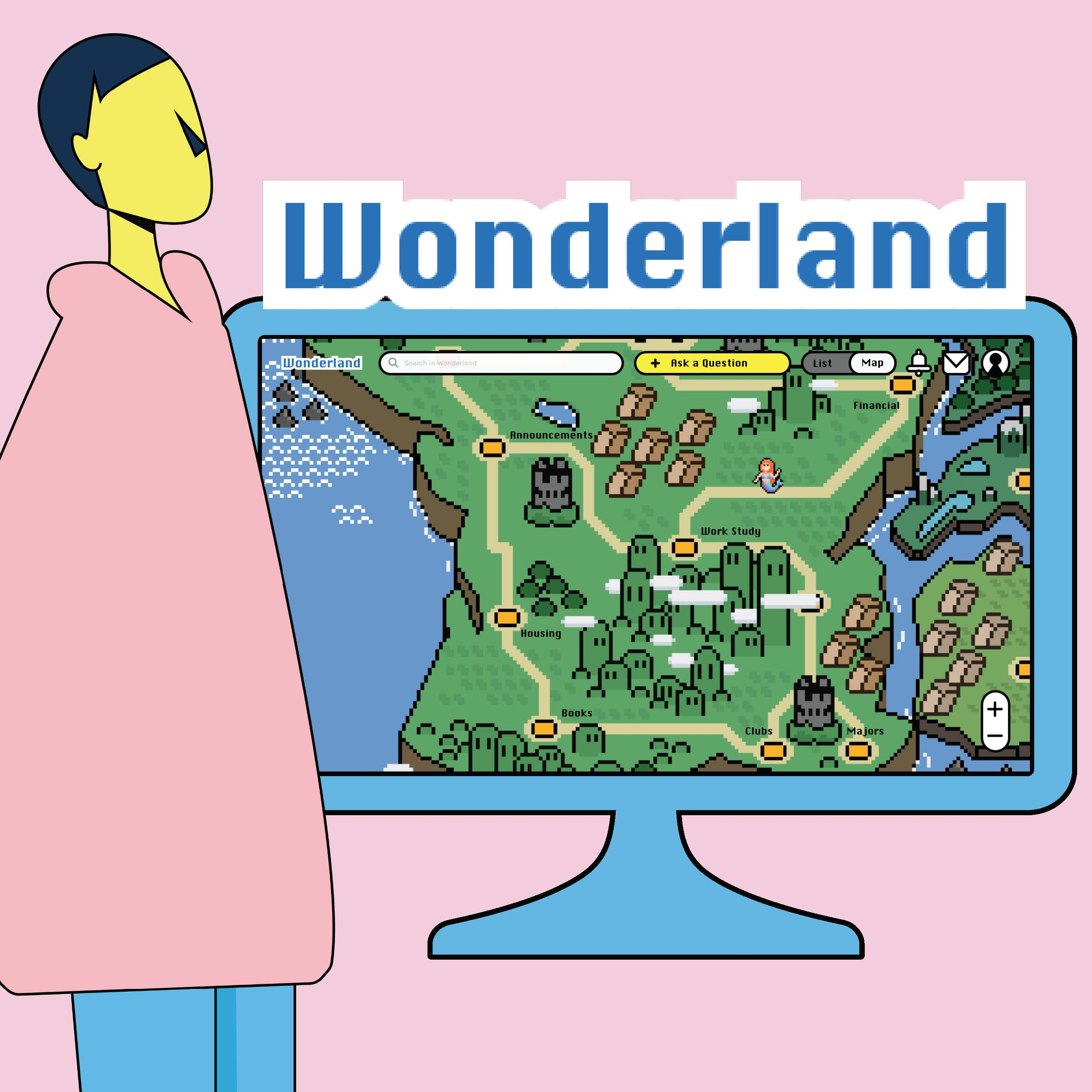 Q&A platform for studentsWonderland logo, text reading What are you wondering?