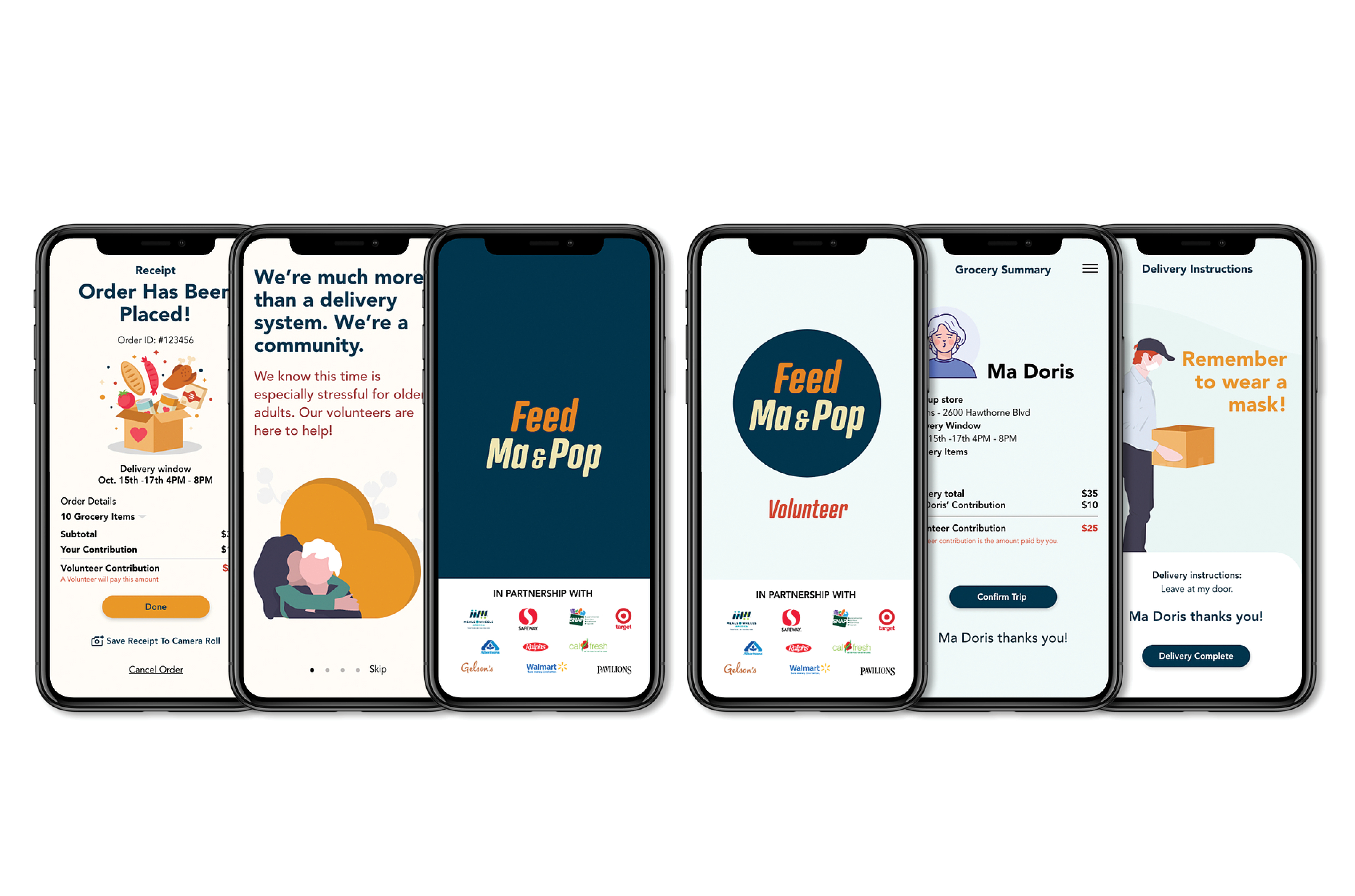 The volunteer side of the app next to the older adult side of the app