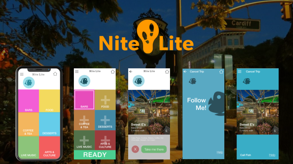 Nite Lite logo with a few screen designs