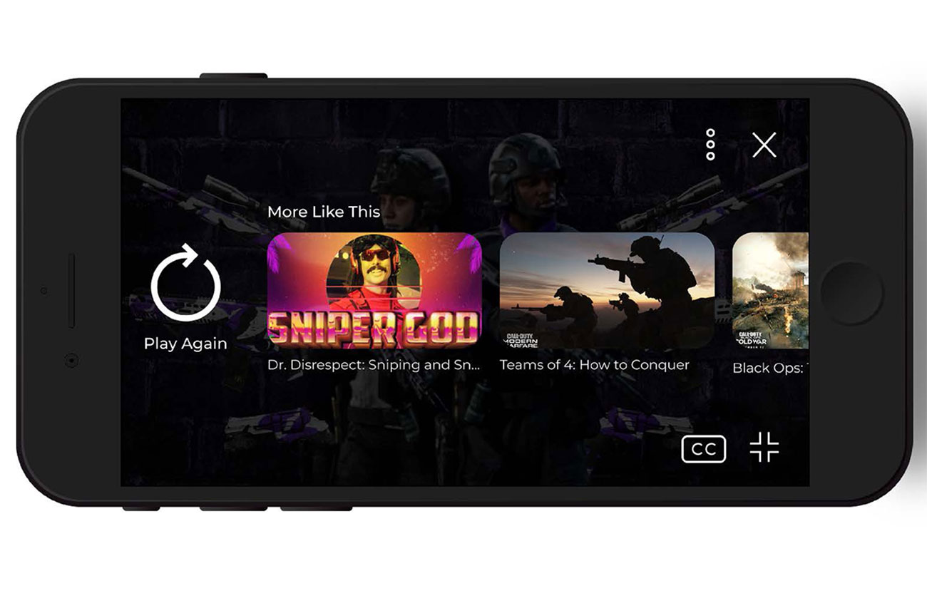 Landscape view of Call of Duty companion app video player