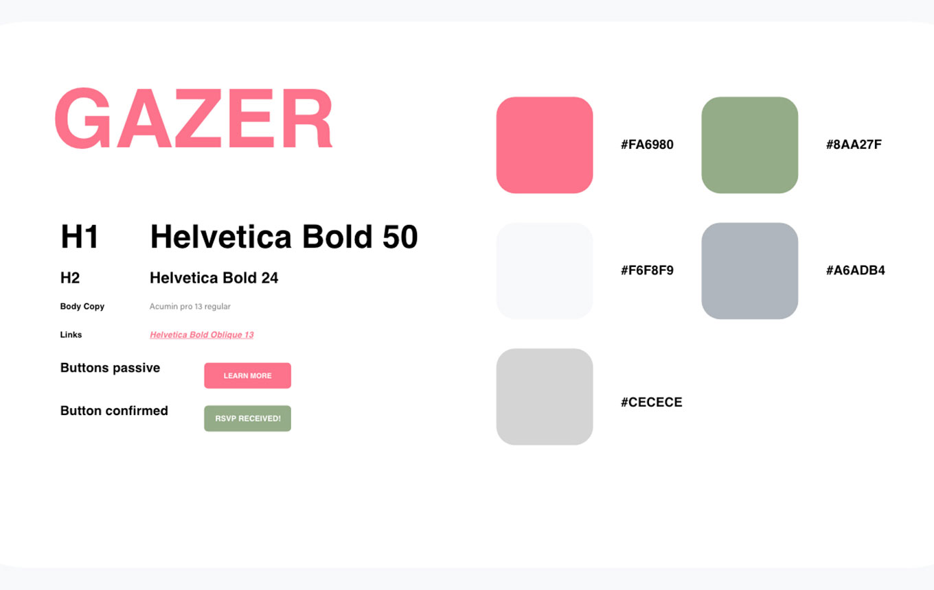 Style guide from Gazer website