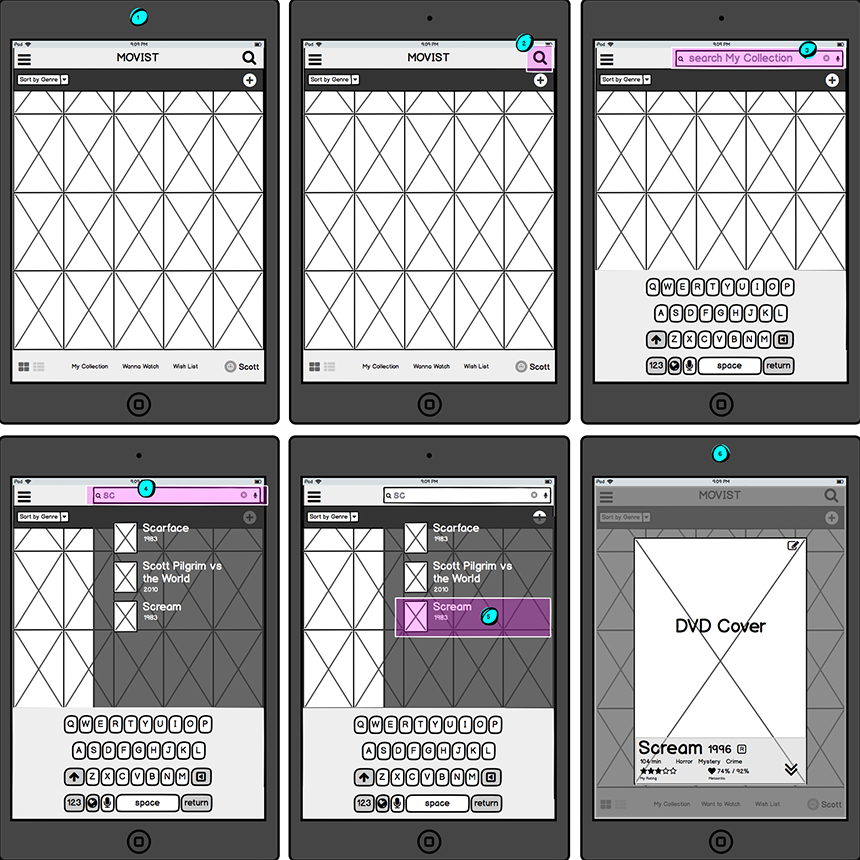 Wireframes for search feature