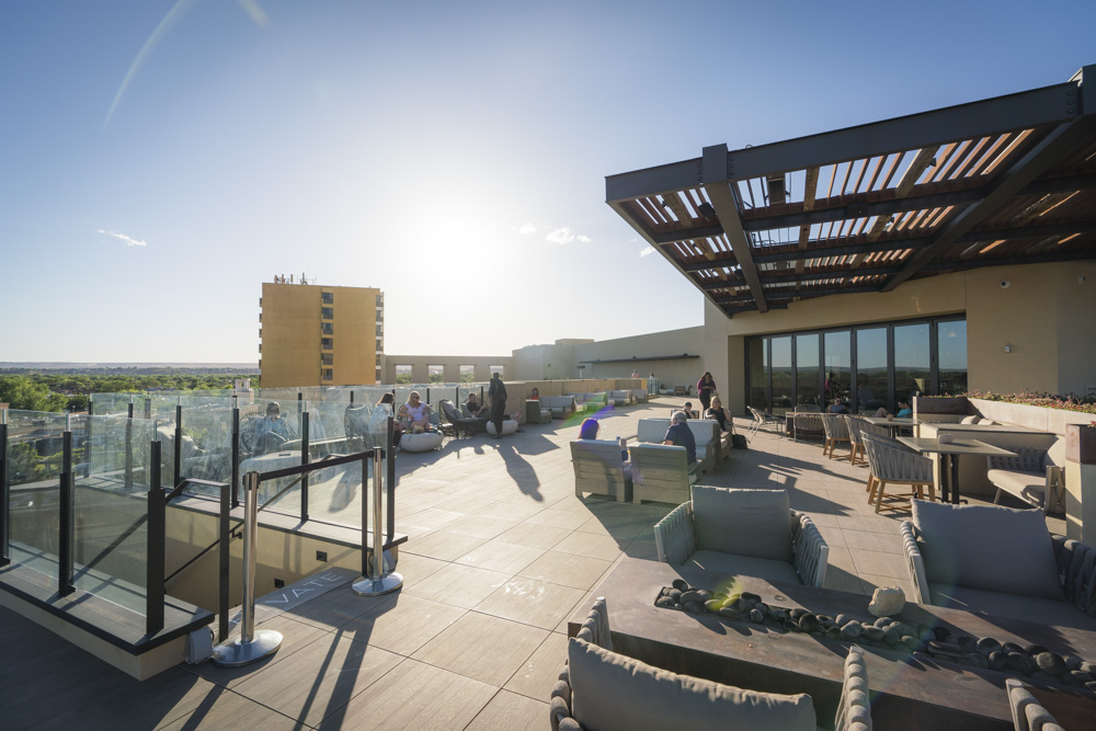 The rooftop at Hotel Chaco is recommended by notable locals as one of the best restaurants in Albuquerque, NM.