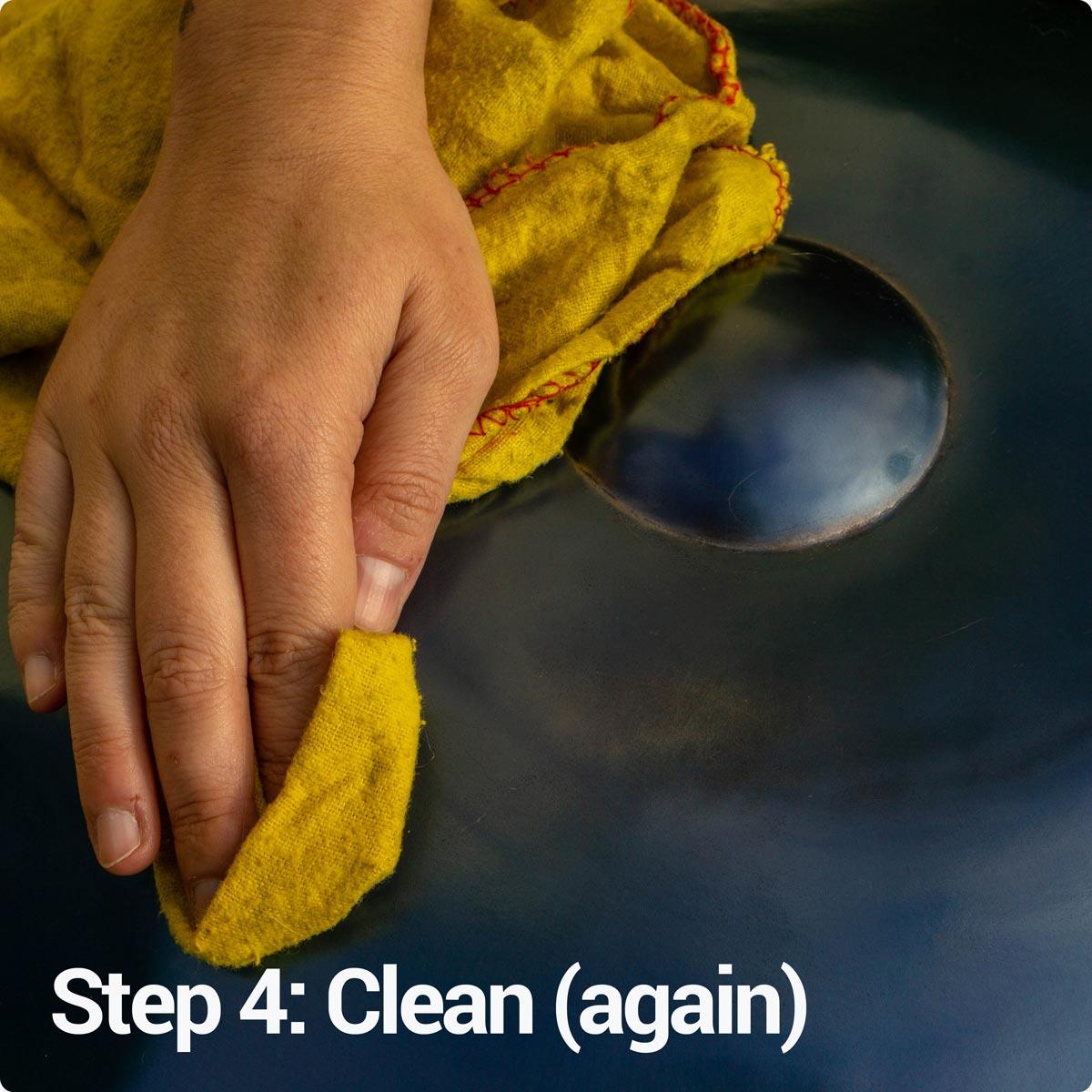 Step 4: Clean again your handpan