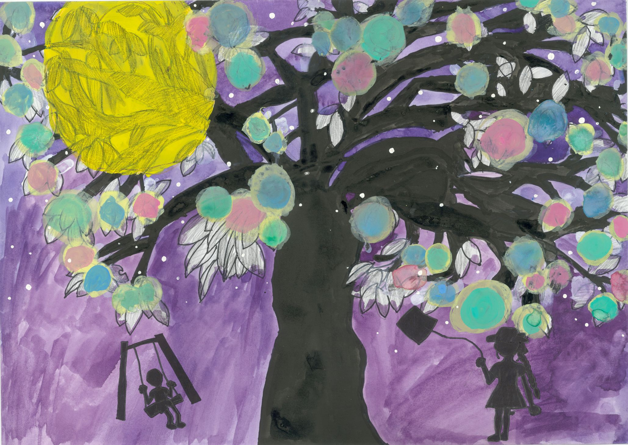 Children playing around the tree