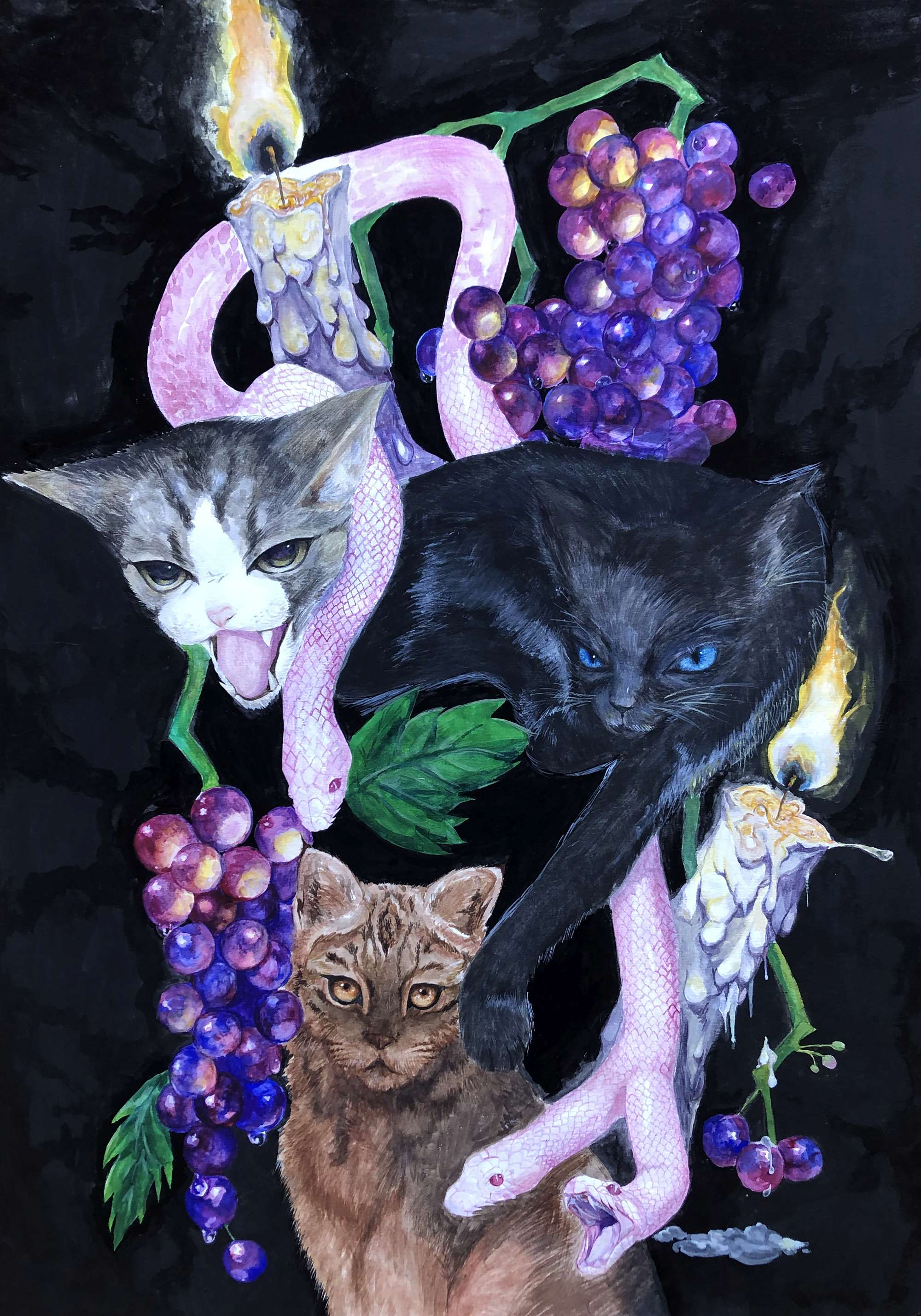 Three Cats, Grapes, Candles and a Snake