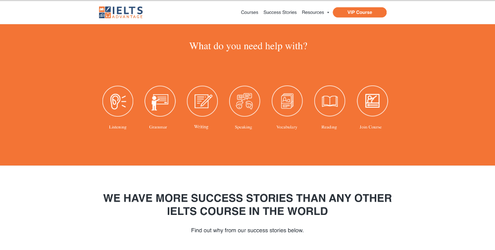 Screenshot of website homepage of IELTS-advantage.com