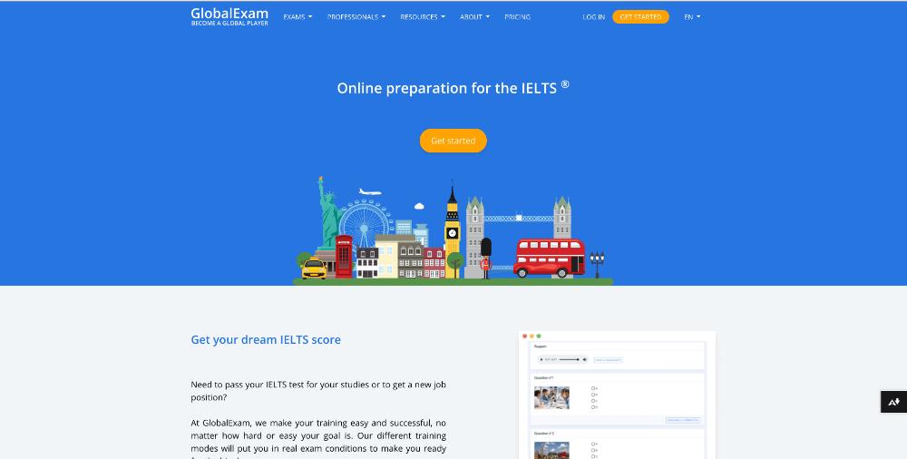 Screenshot of website homepage of Global-exam.net