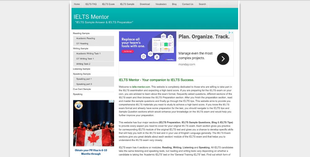 Screenshot of website homepage of ielts-mentor.com