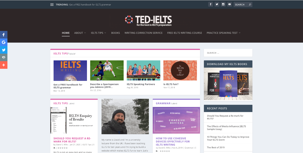 Screenshot of website homepage of ted-ielts.com