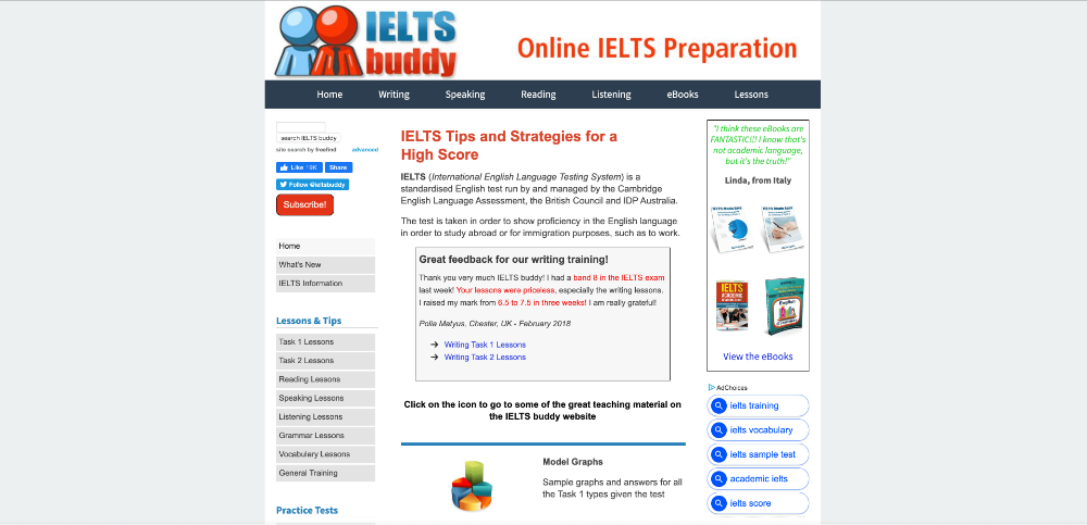 Screenshot of website homepage of ieltsbuddy.com
