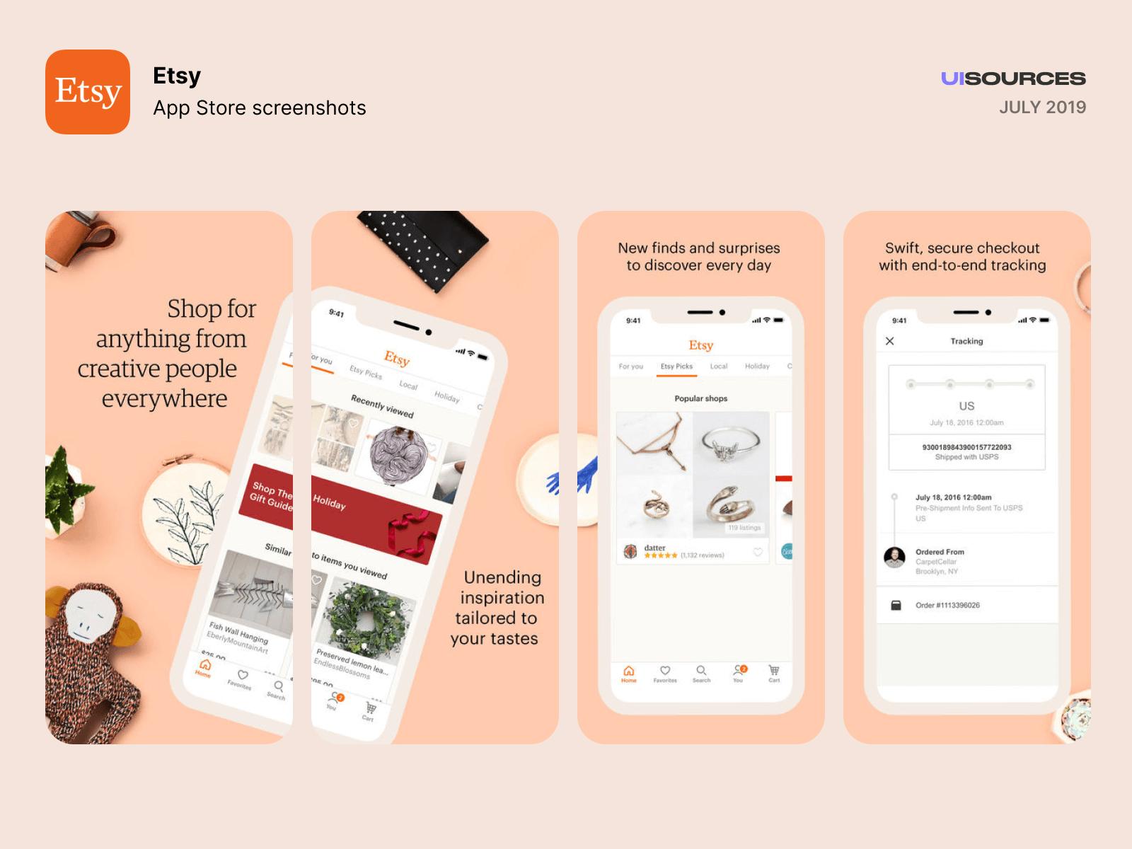 Etsy - App Store Screenshots Screenshots | UI Sources