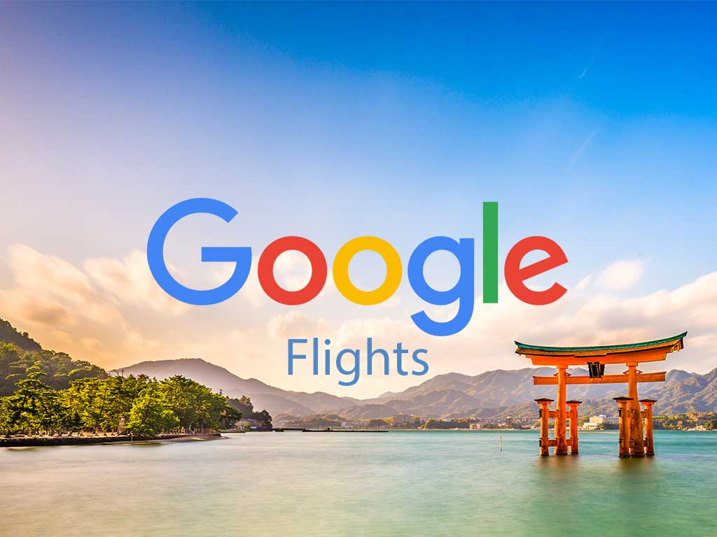 Hiroshima Japan with overlay image of Google logo and word 'Flights' in blue font