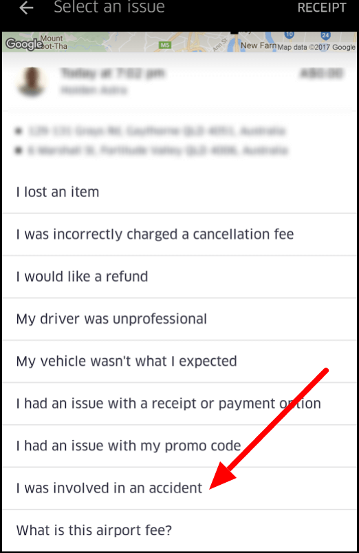 Report accident within Uber app