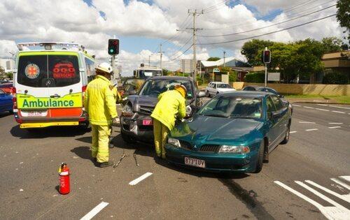 Paramedics at a car accident