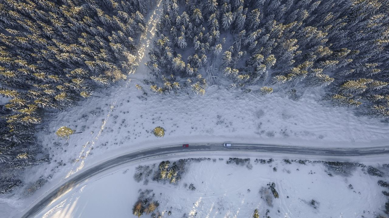 Aerial of snow capped forest and road