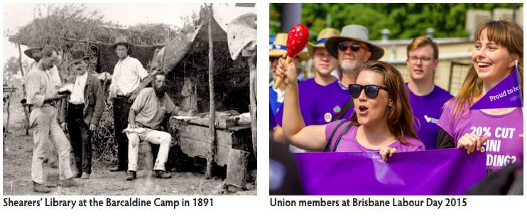 Union demonstrations from 1891 and 2015