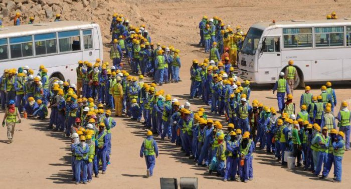 Migrant workers in Qatar for World Cup construction