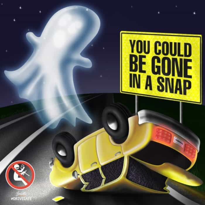 Safety road ad with ghost and turned car