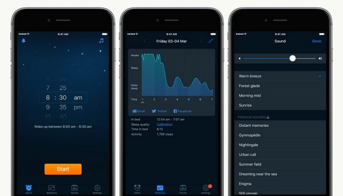 Mobile phones showing Sleep Cycle app