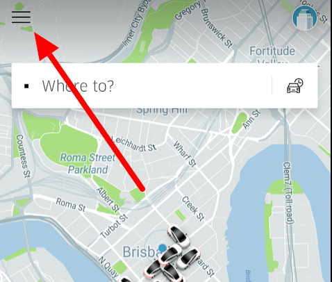 Uber app and instructions to report car accident