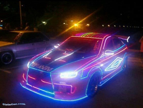 Car with neon lights