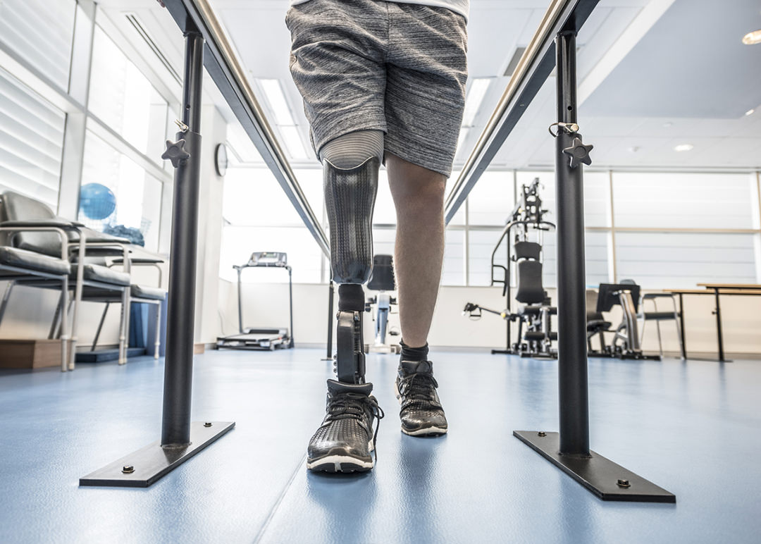 Person training with a prosthetic leg