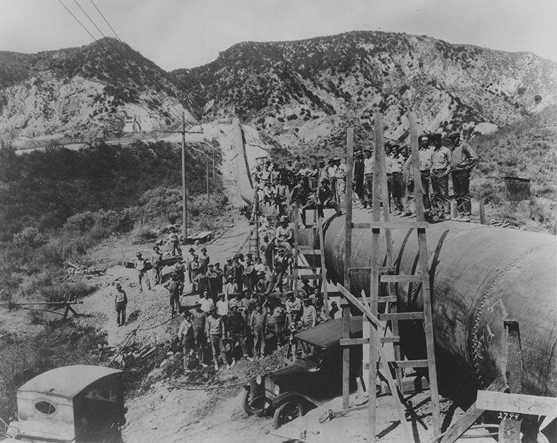 Men working on aqueduct construction site