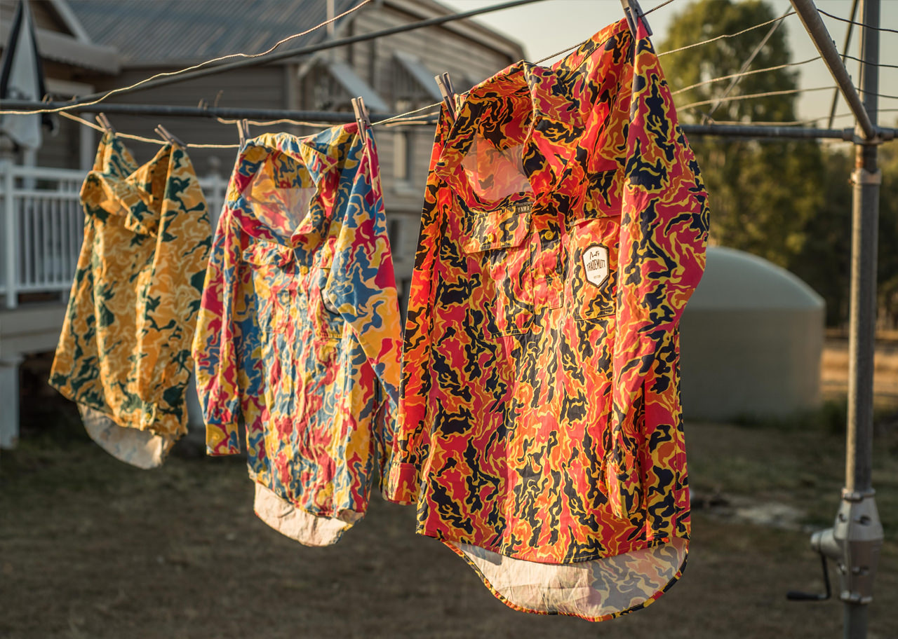 Bright Trademutt work shirts on washing line