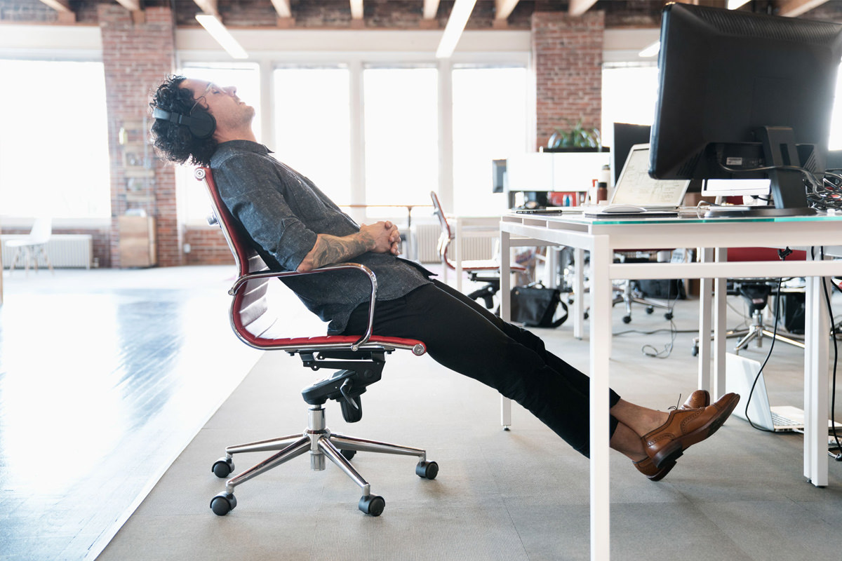 Office worker sleeping on the job