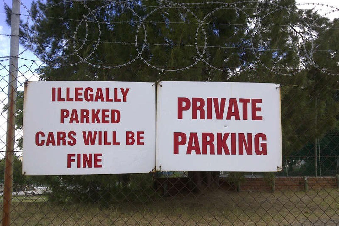 Misspelled word on parking sign