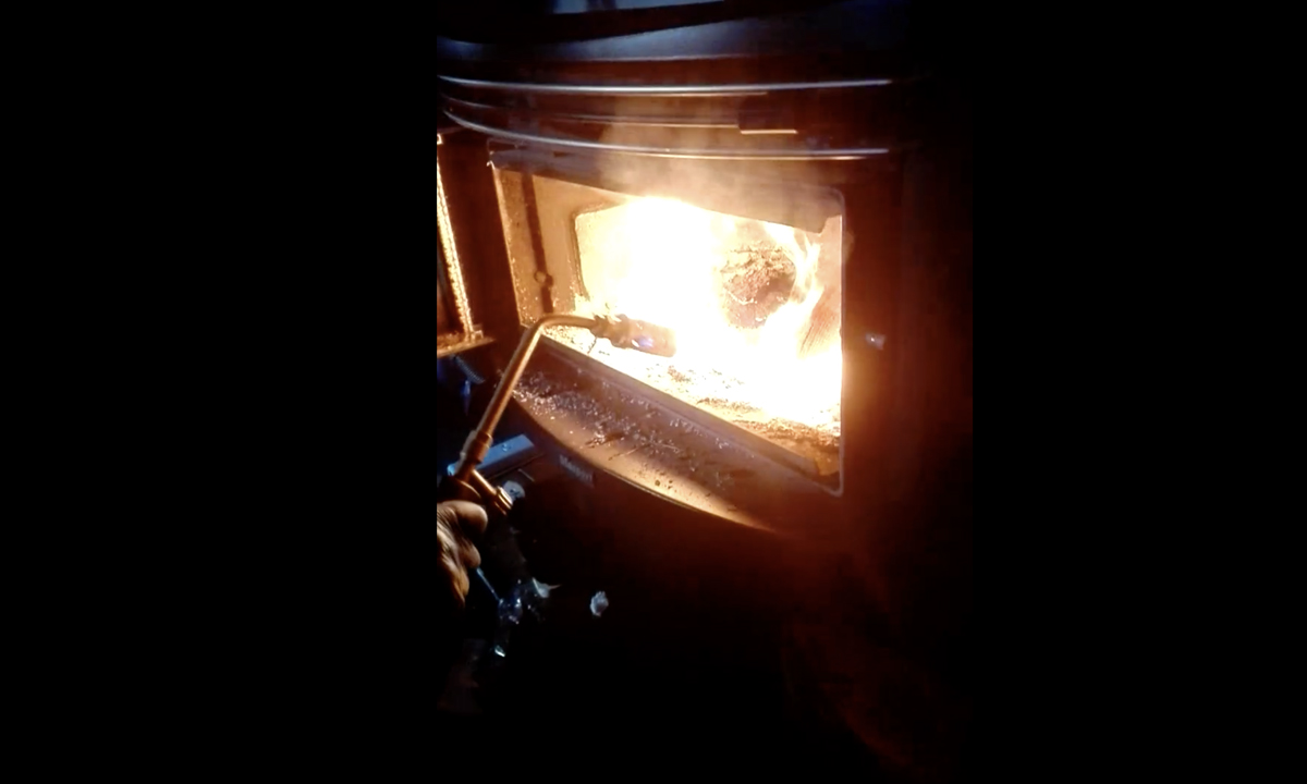 Lighting the wood burning stove