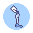 Amputation injury compensation icon in blue with a prosthetic leg