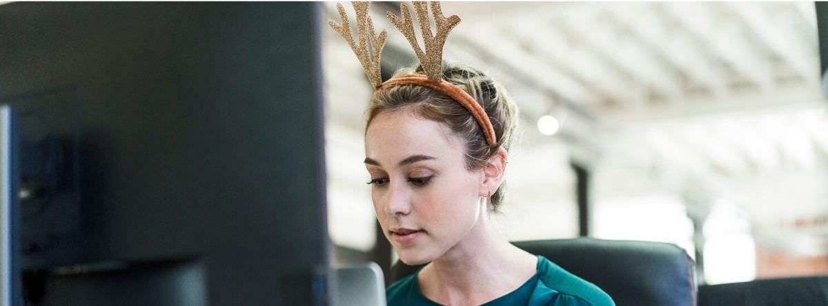 Sad worker at Christmas