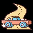 Hooning car drifting on road