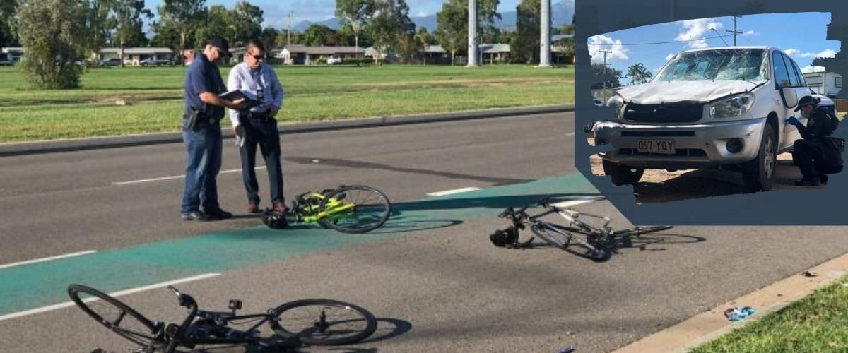 Cyclist hit and run, car crashed and bike on the asphalt