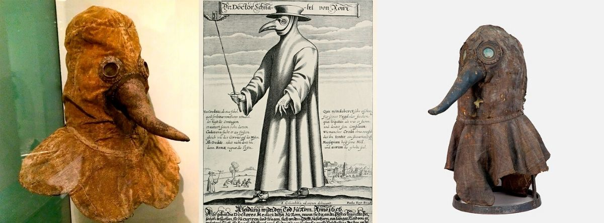 17th century plague doctor costume. Beak mouth, cape and hat.