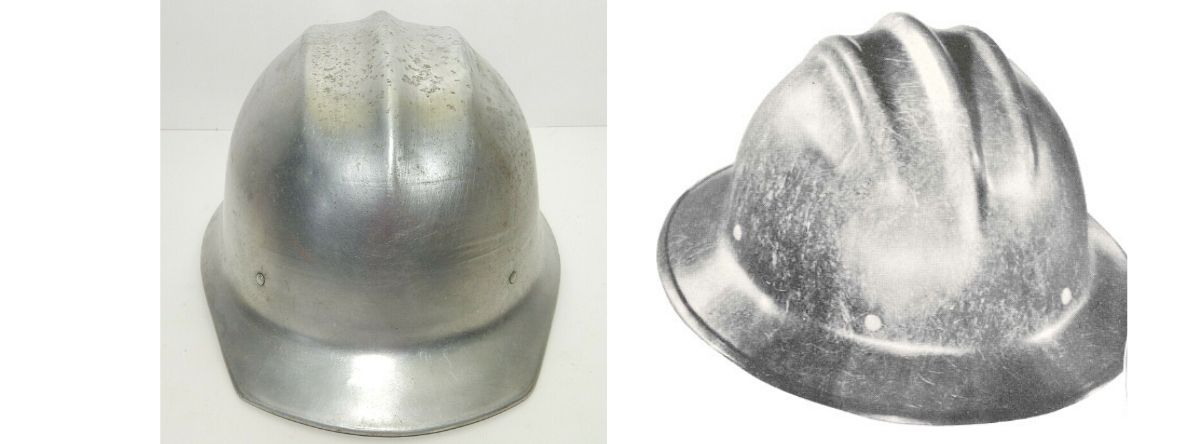 Two pictures of aluminium hard hats
