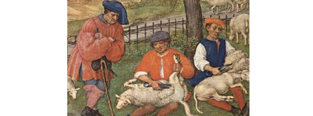 Painting of three men shearing sheep
