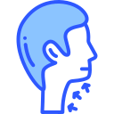 Neck injury compensation claims icon in blue