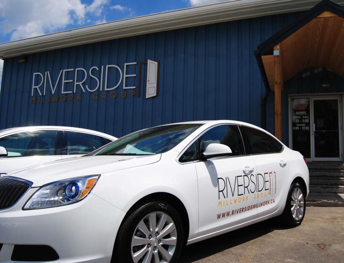 Riverside Millwork Group showroom building and car